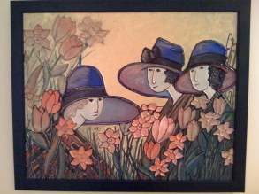 """Hand Painted """"Ladies""""- reproduced as a copy from an original painting that Linda liked."""