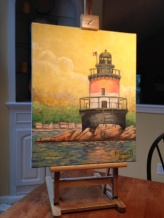 Plum Beach Lighthouse by D.M.Gaskill. Acrylic 2012.
